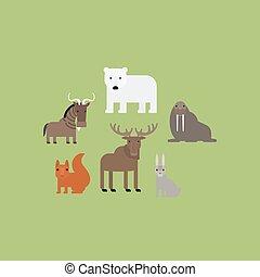 Different animals flat icons set