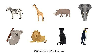 Different animals icons in set collection for design. Bird, predator and herbivore vector symbol stock web illustration.