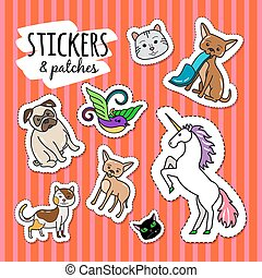 Different animals stickers patches