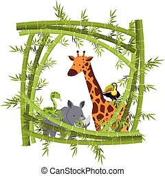 Different animals within a bamboo frame