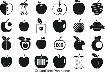 Different apple icon set, simple style