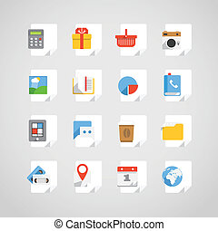 Different application icons set on paper sheets