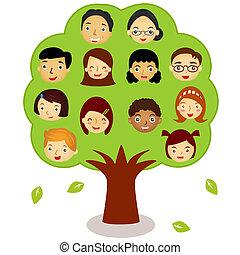 (different, arbre, famille, ethnics)