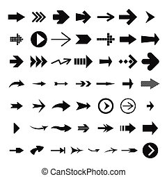 Different arrow icon set, simple style