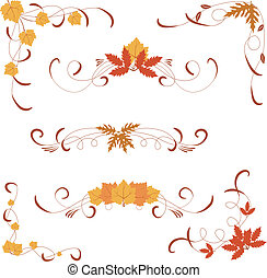 autumn design elements and corners