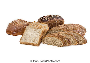 Different bakery products on a light background