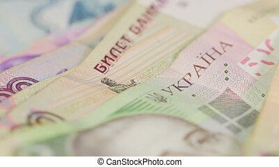 Different banknotes - Hryvnia, rubles, dollars and euros...