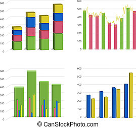 Different Bar chart graph isolated on white background