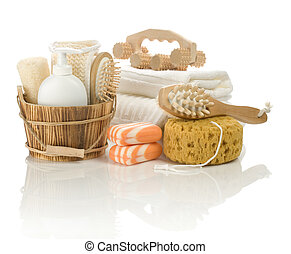 different bathing accessories