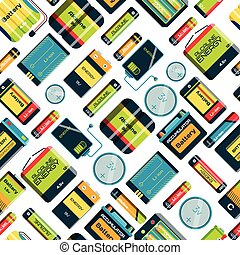 Different batteries seamless pattern