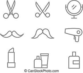 Different beauty salon accessories set. Vector elements collection