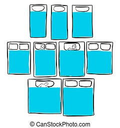 Different bed sizes, Blue Series, Hand-drawn Vector Artwork