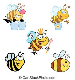 Different Bee Cartoon Mascot Characters-Vector Collection