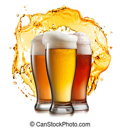 Different beer in glasses with splash isolated on white ...