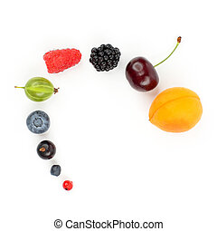 different berries laid out for each other on white background