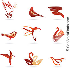 Different  birds icons - Set of different birds icons