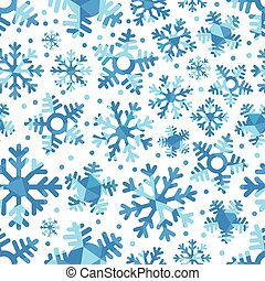 Different blue snowflakes set. Abstract seamless pattern