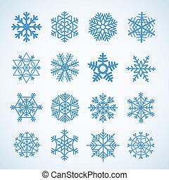 Different blue snowflakes set