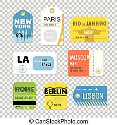 Different boarding pass collection. Flat design Vector illustration isolated on transparent