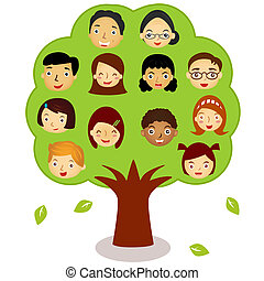 (different, boompje, gezin, ethnics)