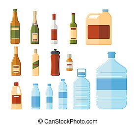 Different bottles and water containers vector illustration