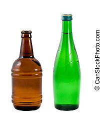 Different bottles on a white background