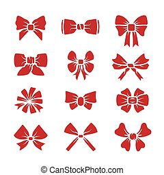 Different bows red icons vector set