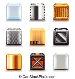 Different boxes icons vector set