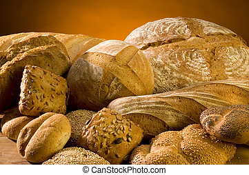 different bread arranged on table close up