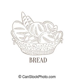 Different Bread In Wicker Basket Hand Drawn Realistic Sketch...
