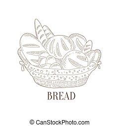 Different Bread In Wicker Basket Hand Drawn Realistic Sketch...