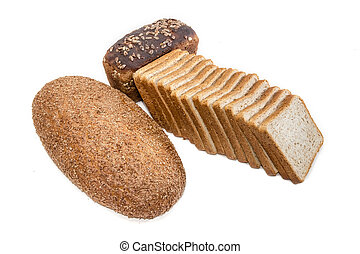 Different bread with bran on a light background