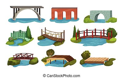 Different Bridges Collection, Wooden, Metal, Brick and Concrete Bidge Vector Illustration