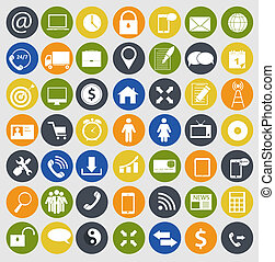 Different business, finance and communication icons vector illustration