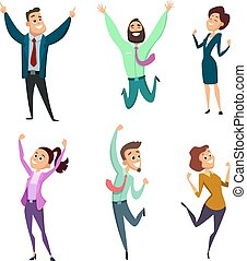 Different businessmen in action pose. Vector pictures of funny characters
