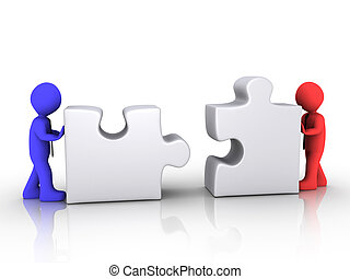 Different businessmen unite - Two different 3d businessmen...