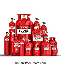 different butane cylinder container 3d rendering image