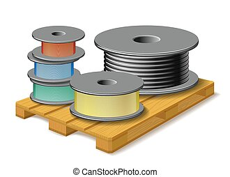 Different cables are on wooden pallet. - Different kinds of...