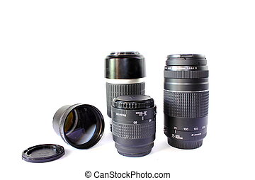 Different Camera Lenses - Isolated black camera lenses in...
