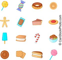 Different candy icons set, cartoon style