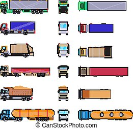 Different cargo truck with container. Big trailer template isolated on white background. Cartoon van mockup set. Commercial car delivering vehicle top, side, front view for corporate identity design. Vector