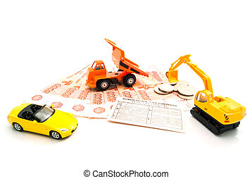 different cars, driving license and banknotes
