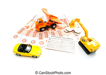 different cars, driving license and money
