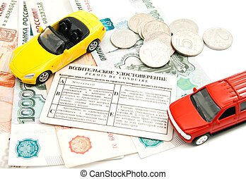 different cars, driving license, coins and banknotes