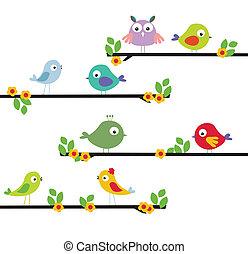 different cartoon bird on a tree