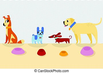 Different cartoon dogs with bowls