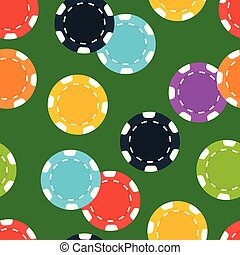 Different casino chips on green background. Seamless pattern.