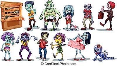 Different character of zombies illustration
