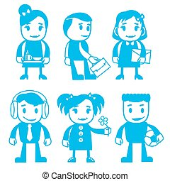 Different characters in blue color