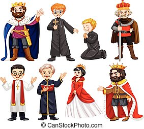 Different characters of king and priest illustration